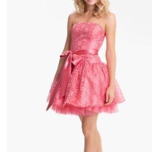 Jessica McClintock coral lace dress